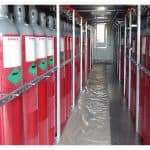 CO2 bottles installed into container with all relevant supports and accessories